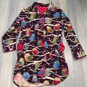 Nick & Nora Purple Owl Nightshirt w/ Pockets! Sz M
